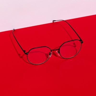shine 블랙 코받침있는 얇은테 안경 금속테안경 메탈