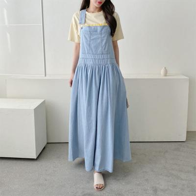 Summer Denim Overalls Long Dress
