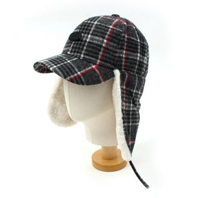 Black Check Earflap Cap
