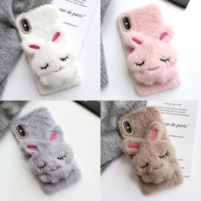 갤럭시S10 S10플러스 토끼 인형 거치대 겨울 털케이스