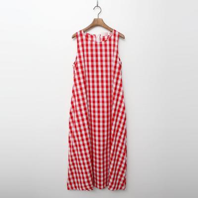 Gingham Check A-Line Long Dress