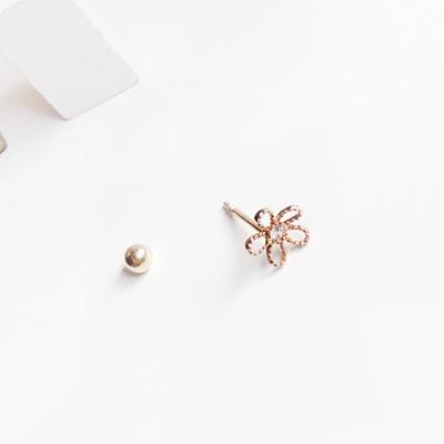 14k pink gold line flower piercing(세트)