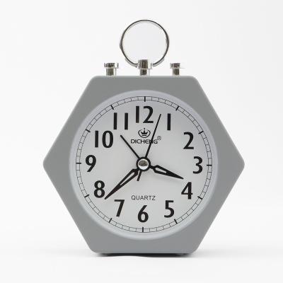 퀴리 육각형 알람 탁상시계(그레이)