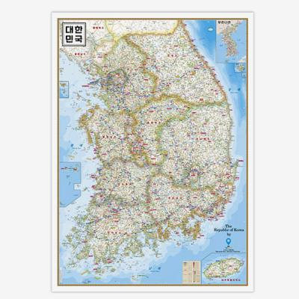 [무료배송]양면코팅 대한민국 지도