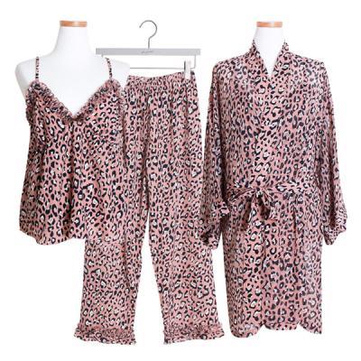 [쿠비카]레오파드 3피스 9부 투피스 여성잠옷 W376