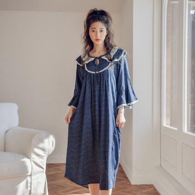 [쿠비카]플라워 레이온 원피스 러플7부 여성잠옷 W442