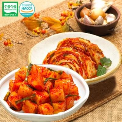 [명가김치] 국내산 맛김치 5kg+깍두기 5kg
