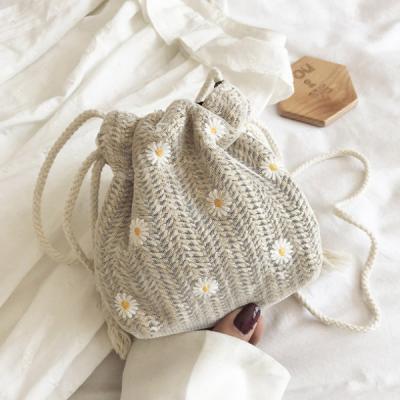 나레 미니 꽃무늬 라탄 복조리백
