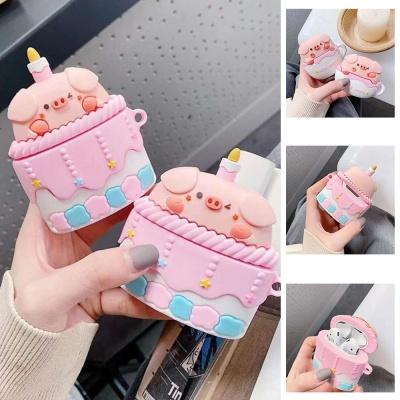 에어팟 1/2/프로 돼지 컵케이크 캐릭터 실리콘 케이스