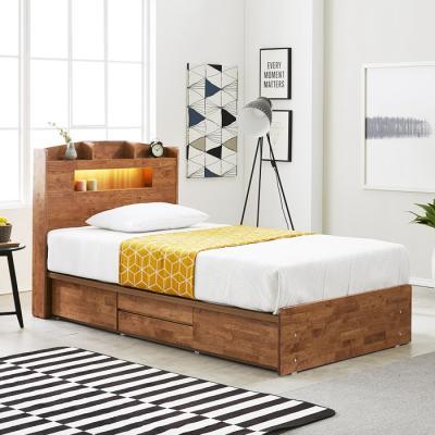 [노하우] 네이처 고무나무원목 LED 4서랍 침대 SS