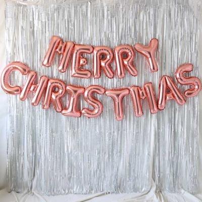 은박풍선 커튼세트 (MERRY CHRISTMAS) 로즈골드