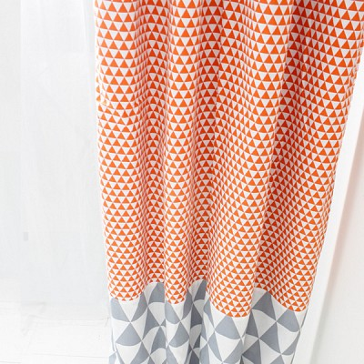 [정사이즈특가]오렌지깨알삼각 암막커튼 200*230cm