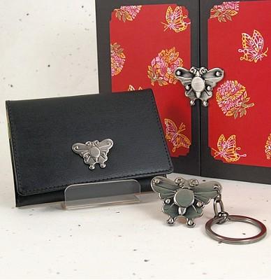 카라빈카, kalavinka, 장석명함지갑 셋트(나비) ,가죽지갑