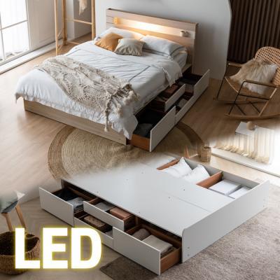 LED조명+콘센트 침대 Q (양면매트) 포서랍 KC186