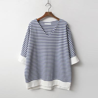 Stripe V-Neck Tee - 7부소매