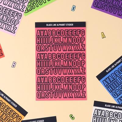 블랙라인 알파벳, 숫자 스티커 12가지 컬러 세트