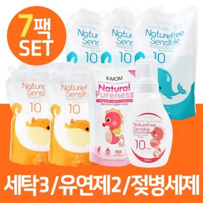 [케이맘] Natural Pureness 유아세탁세제 3팩 + 섬유유연제(포근한향) 2팩 + 젖병이유식기세정제(거품형) 용기 1개, 리필형 1팩