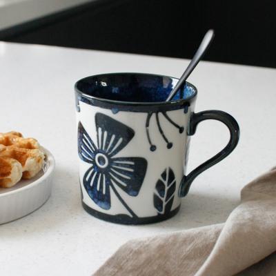 아이카 빈티지 블루 플라워 머그컵