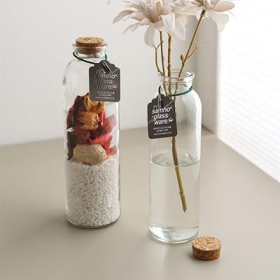 코르크마개 유리꽃화병 유리용기 (소)