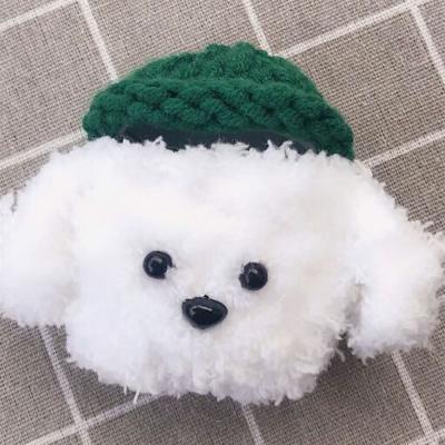 에어팟1/2 강아지 캐릭터 뜨개질케이스_초록+흰푸들27
