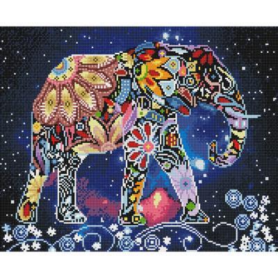 플라워 코끼리 (캔버스형) 보석십자수 40x50