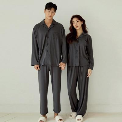 [쿠비카]스탠다드 핏 카라넥 투피스 커플잠옷 WM363