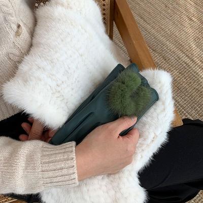 여성용 리얼 양가죽 밍크장갑 (6color)