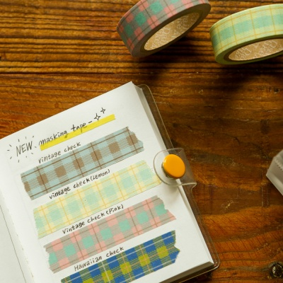 Masking tape single - 162 Vintage check (Lemon)