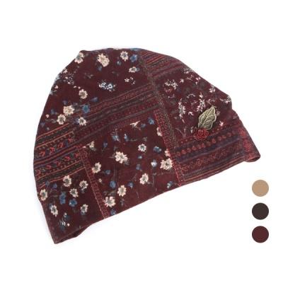 [디꾸보]꽃 장식 패턴 두건 밴딩 모자 AC839