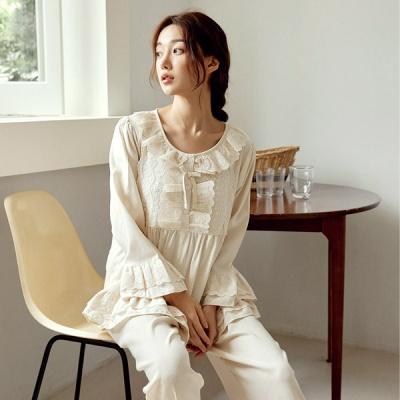 [쿠비카]로맨틱 끝단 프릴레이스 투피스 여성잠옷W823