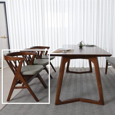 우데 고무나무 원목 식탁 의자