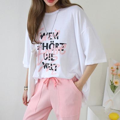 [애슬릿]국내 면100% 레터링 프린트 여성 반팔 티셔츠