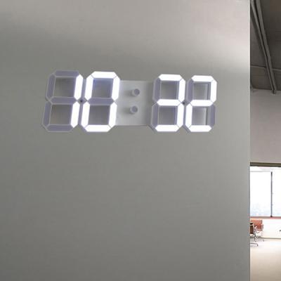 3D 모던 LED 넘버 벽시계 (리모콘 포함)-화이트