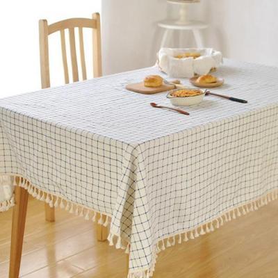 린넨 식탁보 테이블보 태슬 체크 패브릭 140x140cm