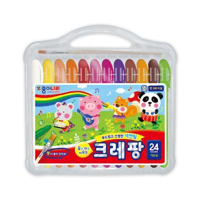 종이나라 15000 크레팡 24색 가는심 색연필 크레파스
