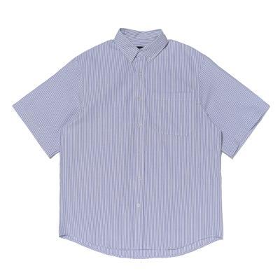 CB 스트라이프 옥스포드 반팔 셔츠 (블루)