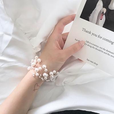 여자 팔찌 발찌 체인 더블 진주팬던트 명품스타일