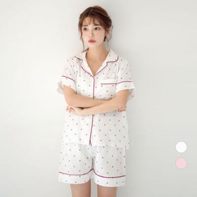 [쿠비카]허니애플 레드 파이핑 투피스 여성잠옷 W609