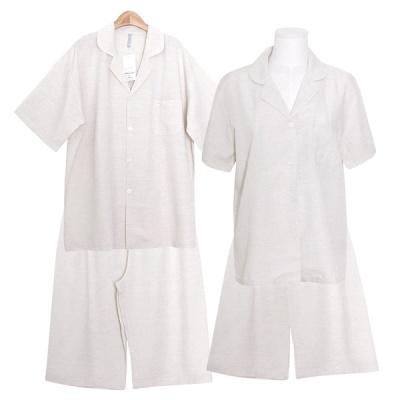 [쿠비카]심플 베이직 린넨혼방 투피스 커플잠옷 WM356