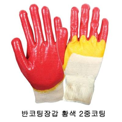 돌고래 황색 2중 코팅 반코팅장갑 100켤레묶음 목장갑
