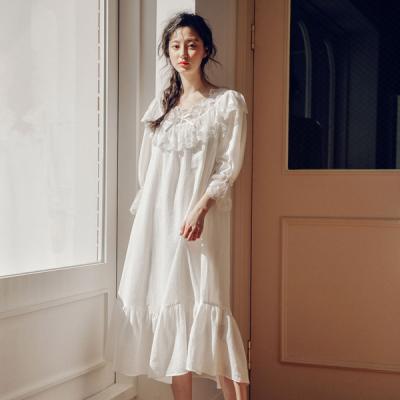 [쿠비카]페미닌 레이스 원피스 7부 여성잠옷 W453