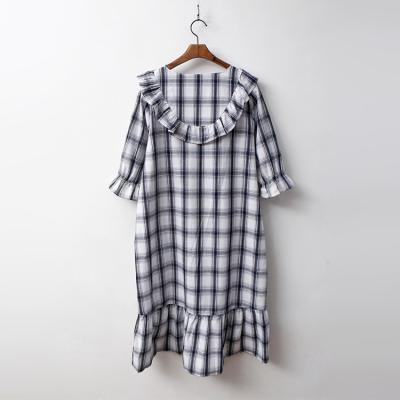 Linen Check Sleepwear Dress