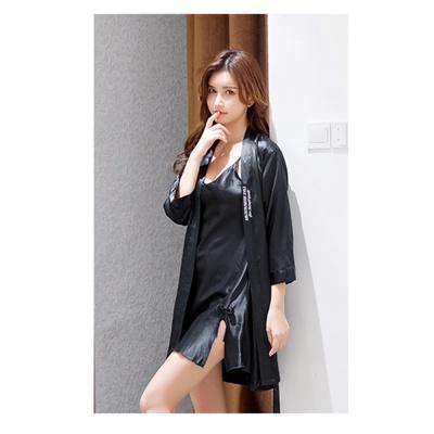 실키나잇 여성 슬립 잠옷세트 (블랙) (XXL)
