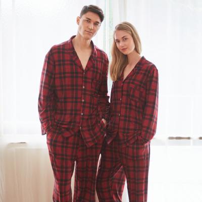 커플잠옷세트 레드체크 피치기모 긴소매 잠옷(7028)