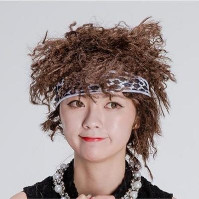 헤어밴드 포함 뽀글머리 가발 장기자랑 공연가발