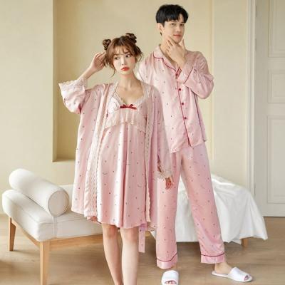 [쿠비카]우아한 레이스 딸기 앙상블  커플잠옷 WM266