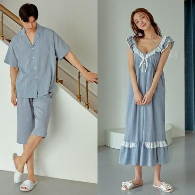 [쿠비카]3중밴딩 숄더 이중 원피스 커플잠옷 WM343