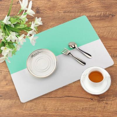 투톤 실리콘 식탁 매트(민트) 방수 주방 테이블매트