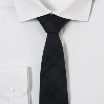 남자 블루블랙 체크 넥타이