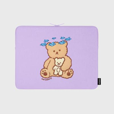 Blue bird bear-purple 13inch notebook pouch